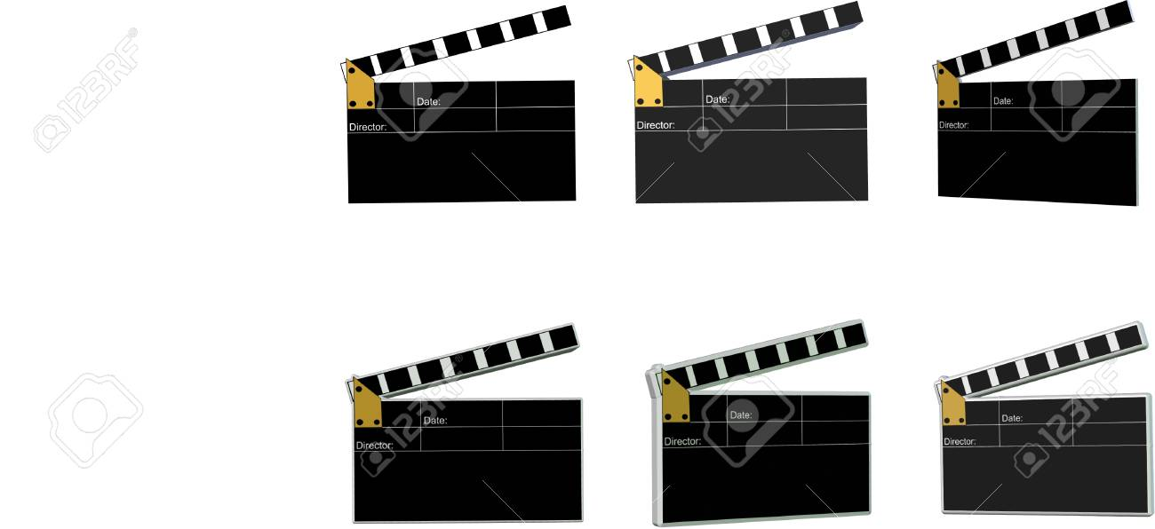 movie clapboards in 2d and 3d on white Stock Vector - 4499760