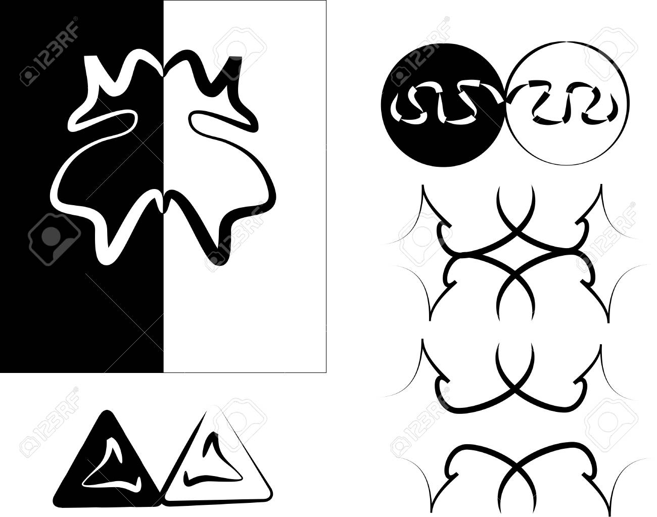 black and white design elements on white Stock Vector - 4514471
