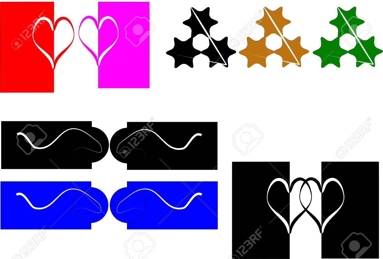 design elements of hearts  in black and white and colors on white Stock Vector - 4514470