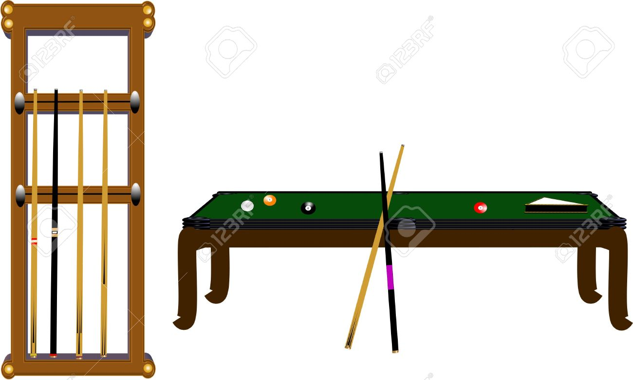 Pool Table And Cue Rack In 3d On White Stock Vector   5757559