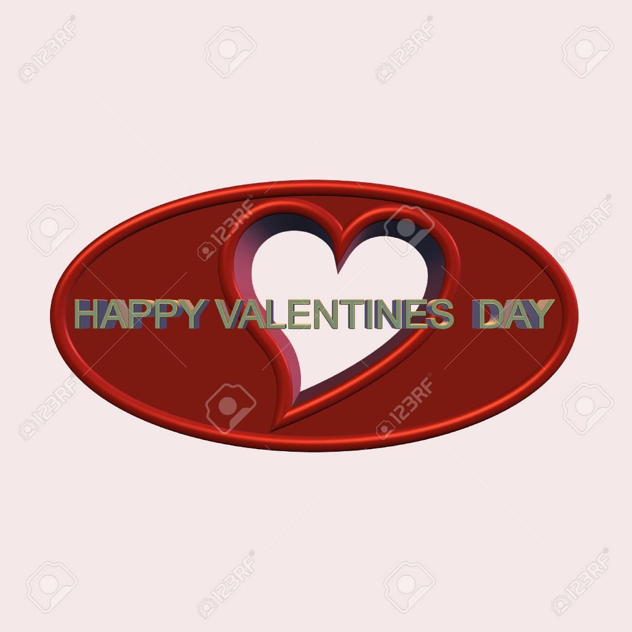 Valentinstag Nachricht In 3d Auf Weiß Standard Bild   5902182