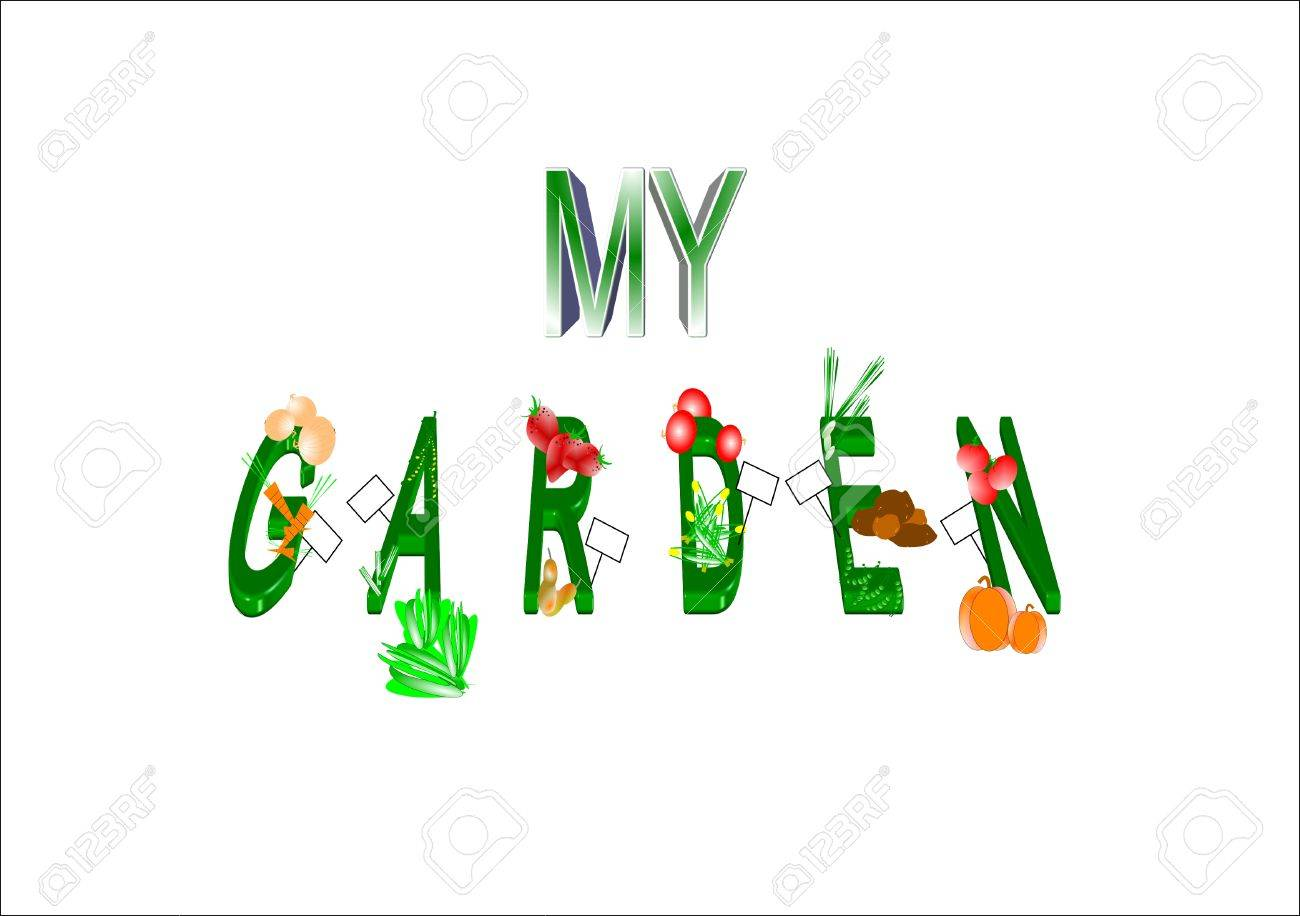 My Garden In 3d Text On White Illustration Royalty Free Cliparts