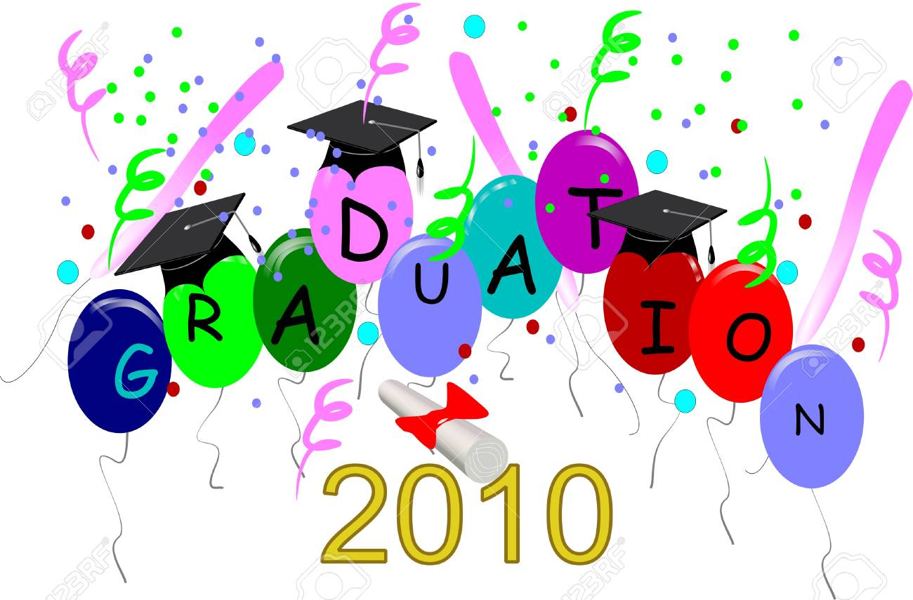 graduation2010 on balloons in 3d on white Stock Vector - 6979576