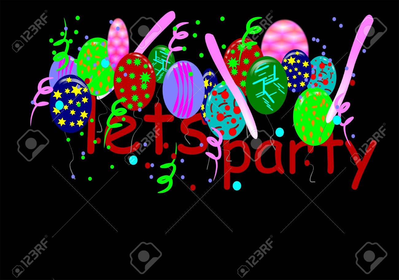 LETS PARTY  WITH BALLOONS ON BLACK Stock Vector - 6979578