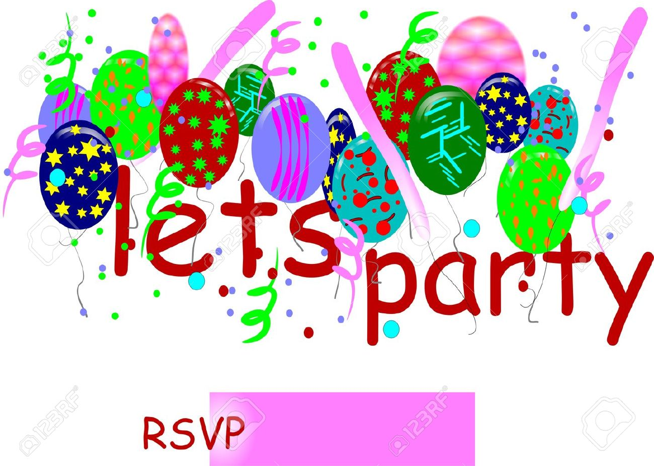 lets party rsvp invitation on white card royalty cliparts vector lets party rsvp invitation on white card