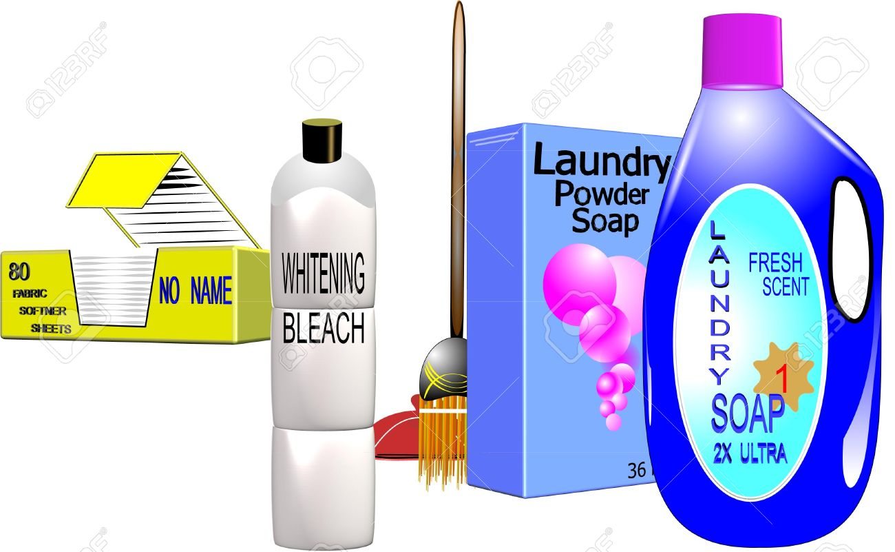 household cleaning supplies in 3d on white - 6979604