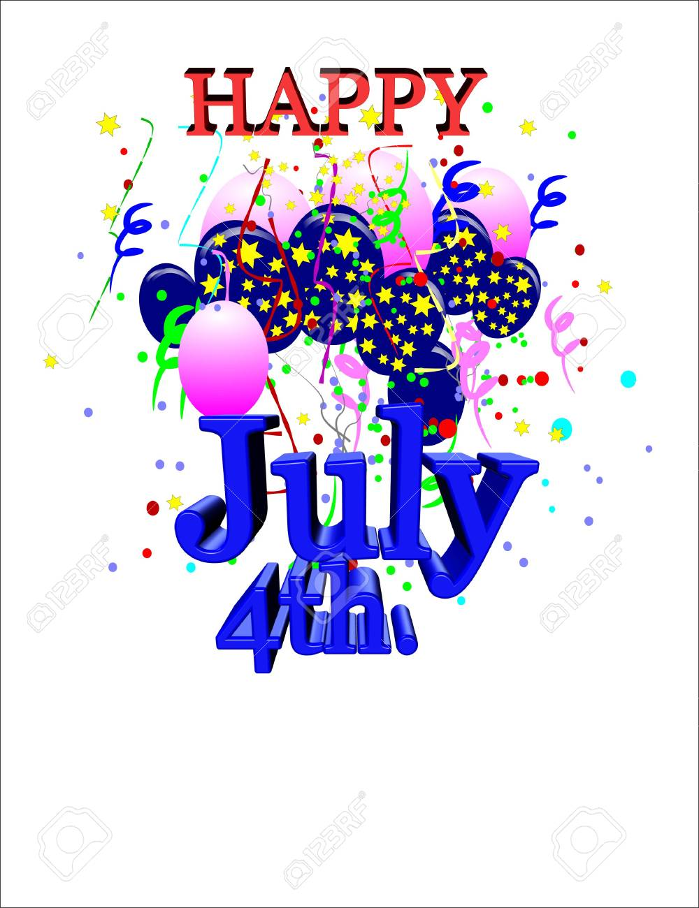 july 4th greeting on white in 3d Stock Vector - 7026810