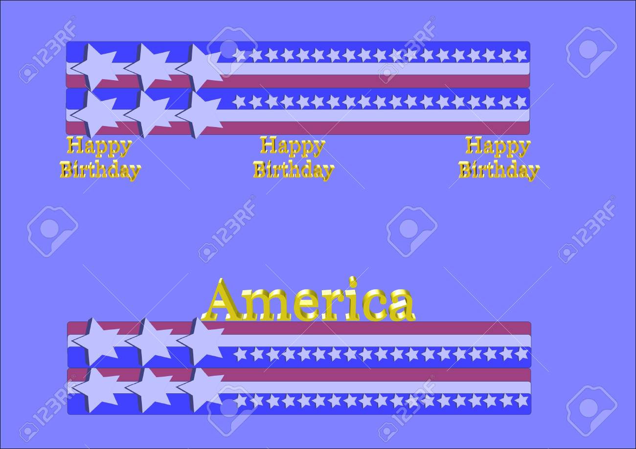 birthday greetings for america on july4th Stock Vector - 7026811