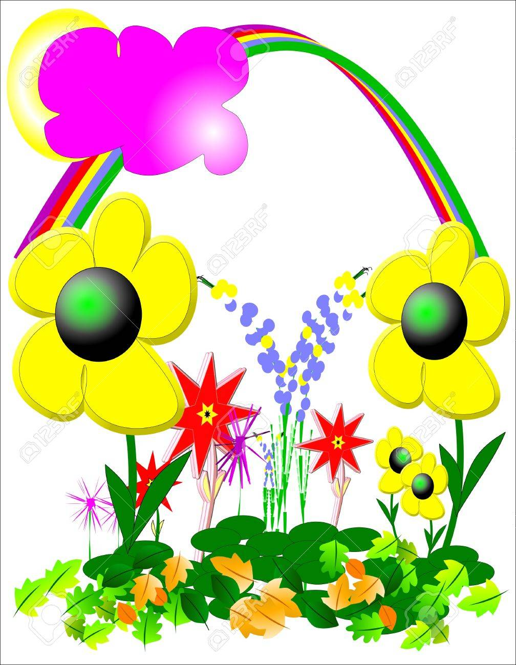 summer day after rain with rainbow in sky Stock Vector - 7186693