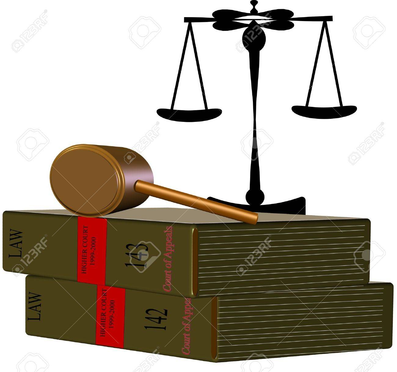 law books with scales of justice on white in 3d - 7194539