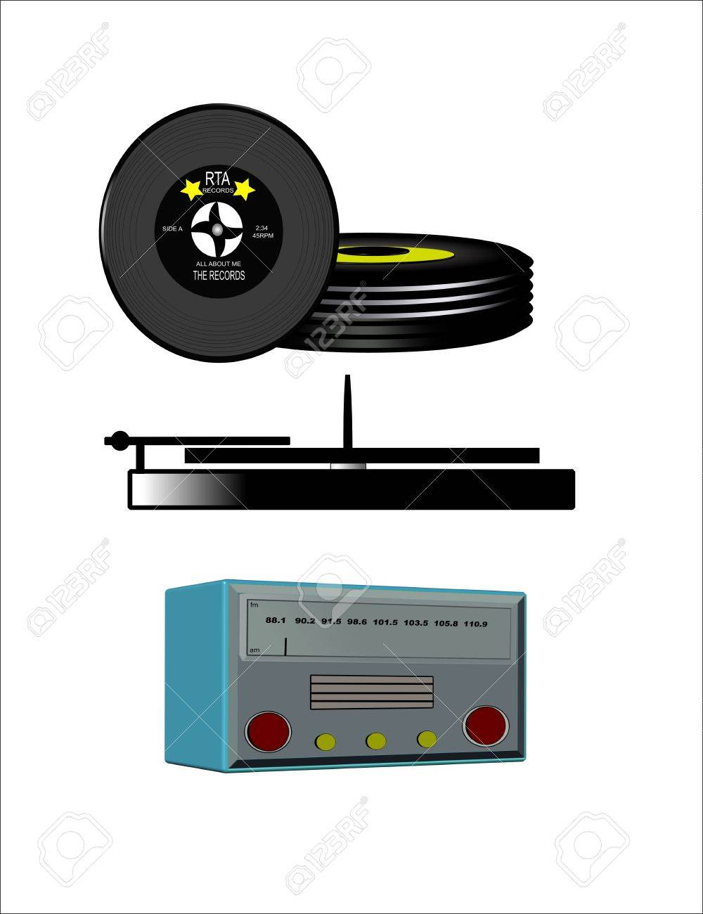 radio icons and  45 records with turntable Stock Photo - 7415743
