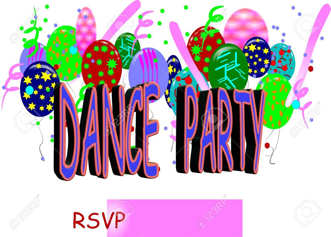 Dance Party Invite Royalty Free Cliparts, Vectors, And Stock ...