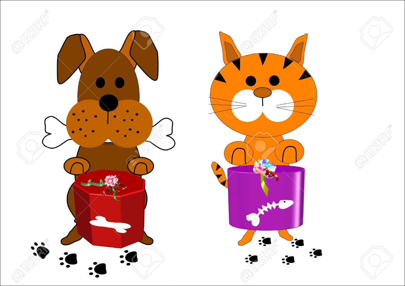 dog and cat  cartoon characters on white Stock Vector - 8424800