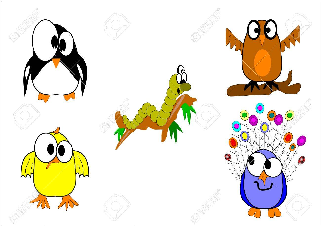 bassorted birds with worm on branch in cartoon style on white Stock Vector - 8504325