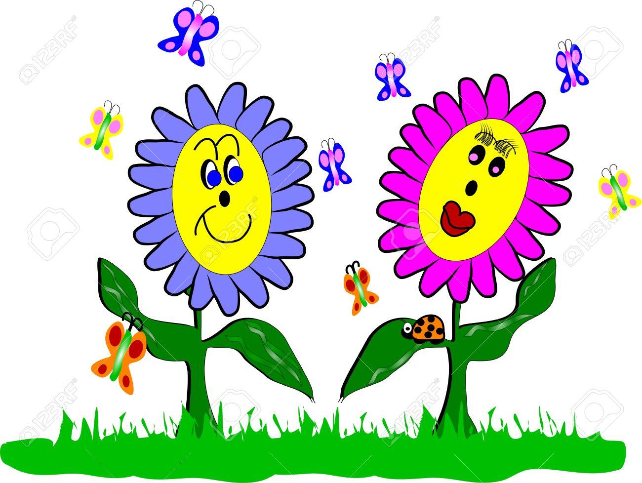 Banque d\u0027images , Fleurs de printemps et le style de dessin animé de  Coccinelle