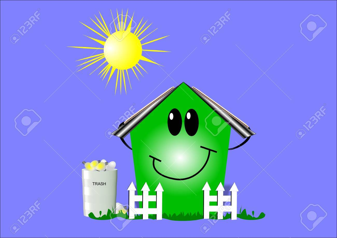 eco house on blue with sun and graphic elements Stock Vector - 8517933