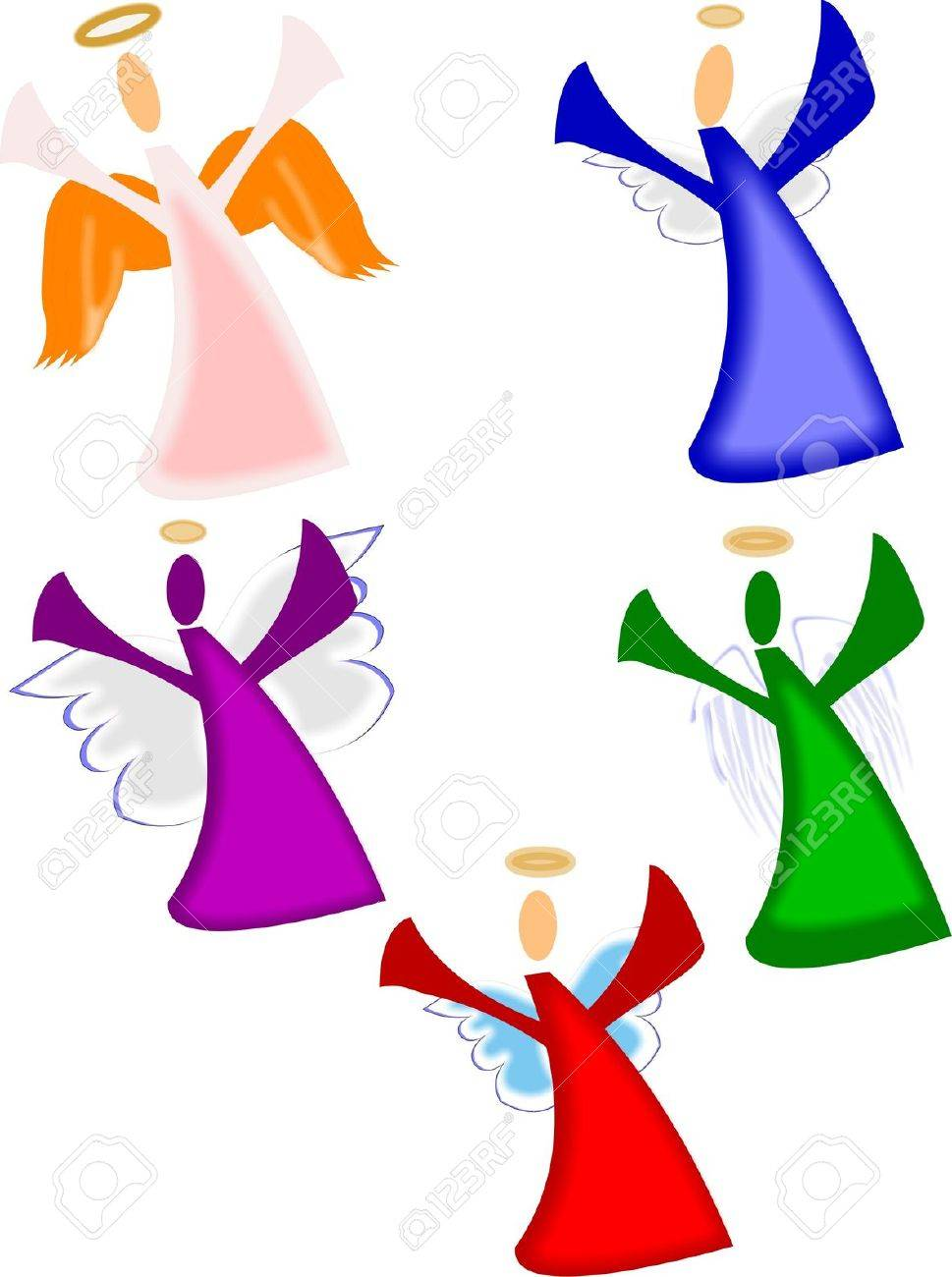 Christmas Angels On White Royalty Free Cliparts, Vectors, And Stock ...
