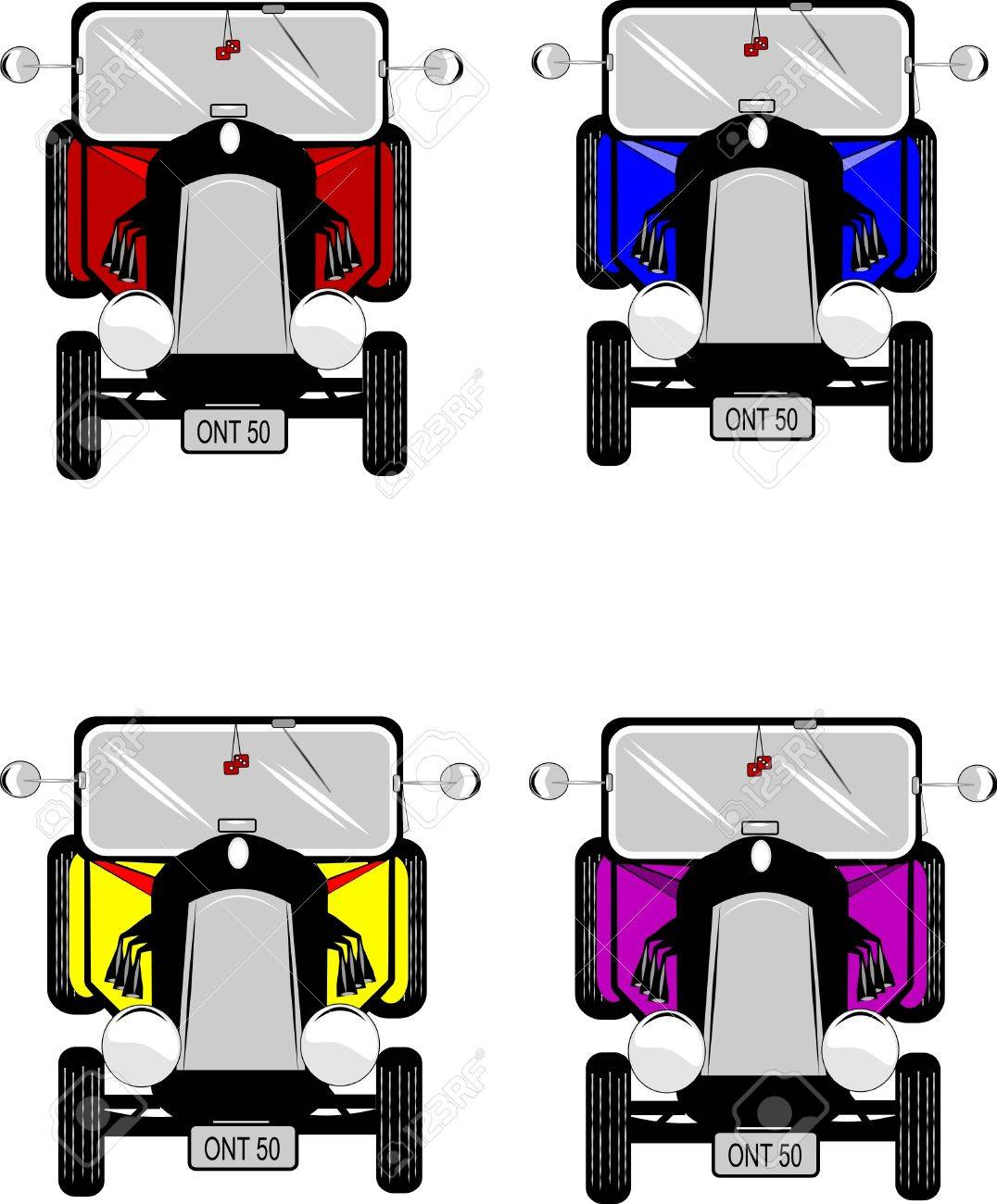 retro hotrods in various colors on white Stock Vector - 9930361