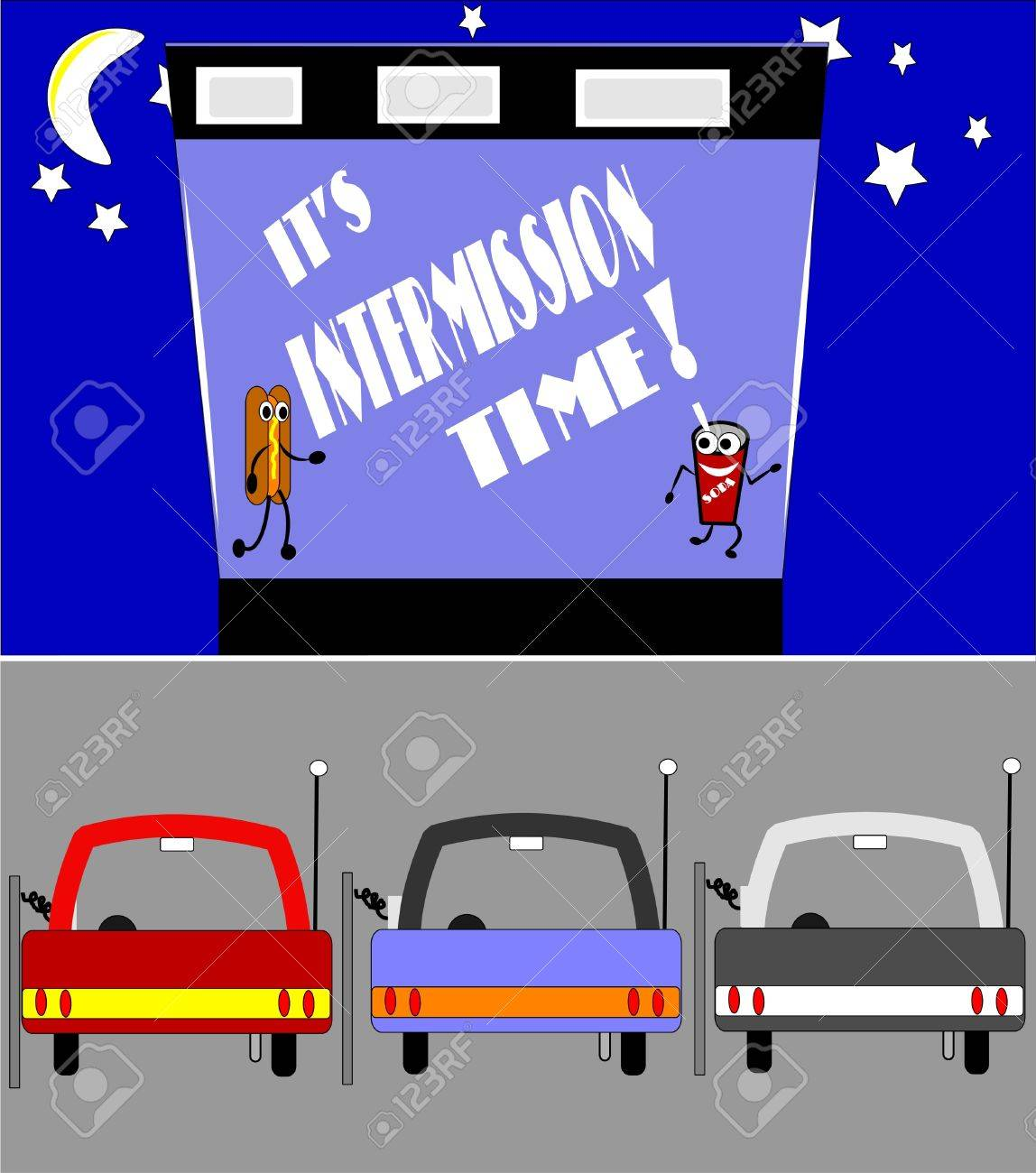 Retro Drive In Intermission Time Royalty Free Cliparts Vectors And Stock Illustration Image 9930367