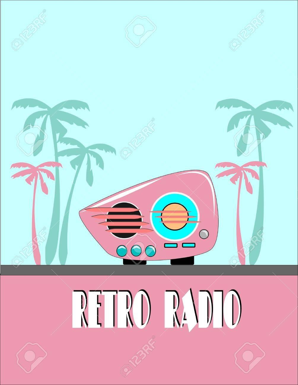 retro radio  with palms Stock Vector - 10045760