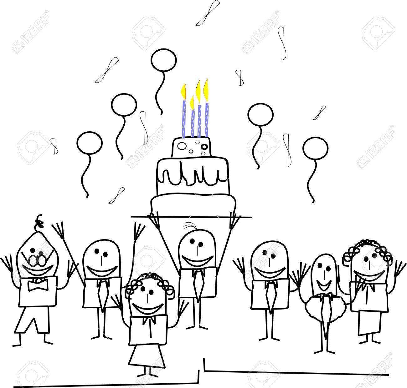 stickmen office birthday party Stock Vector - 10429841