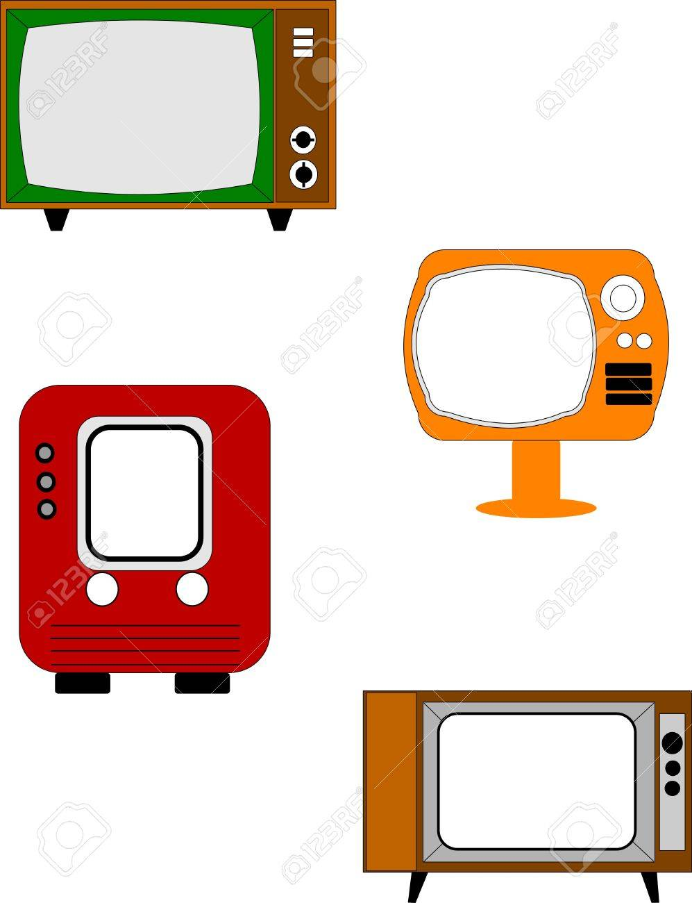 retro televisions on white royalty free cliparts vectors and stock