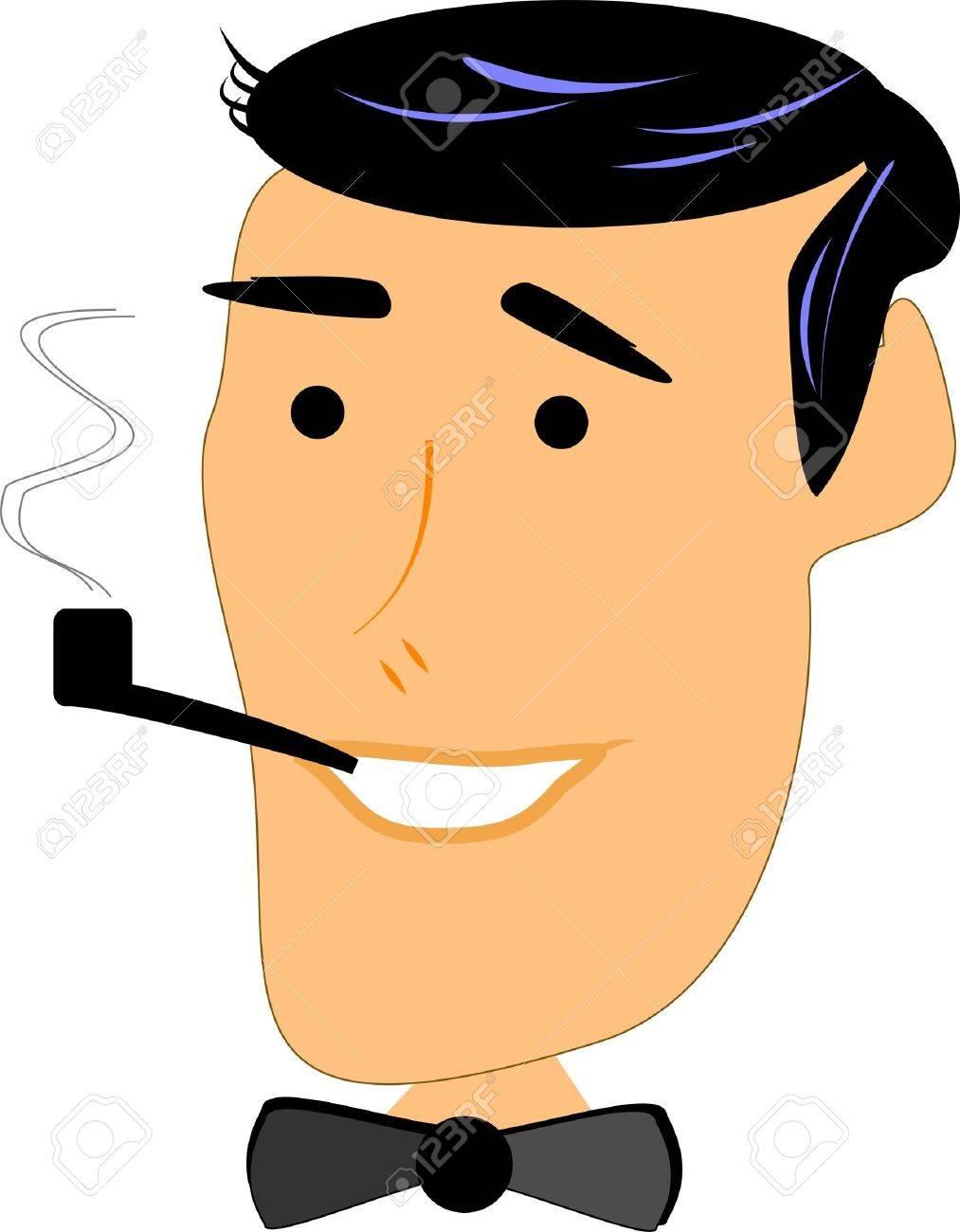 retro man smoking pipe Stock Vector - 10594295