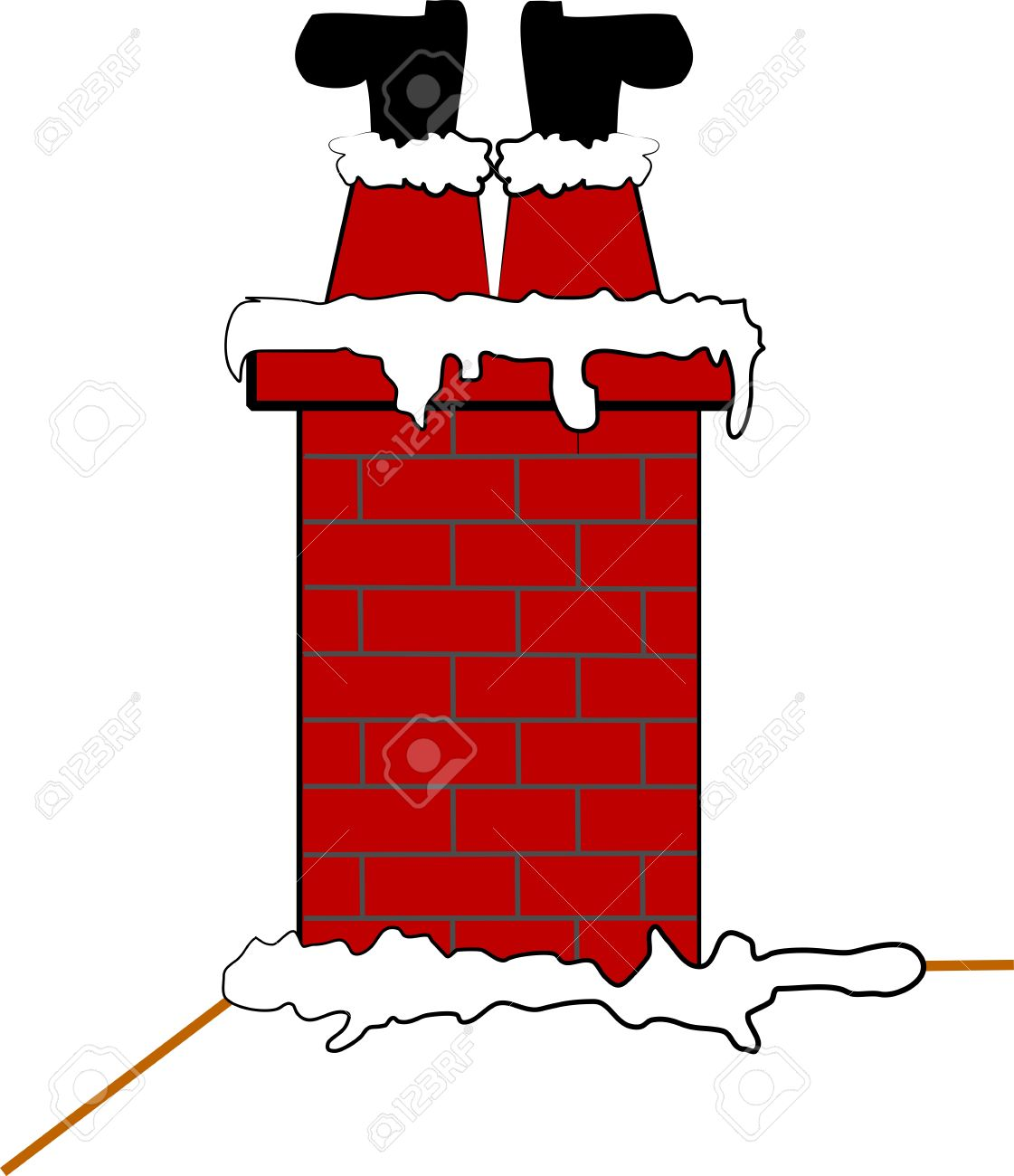 stuck santa in chimney Stock Vector - 11809385
