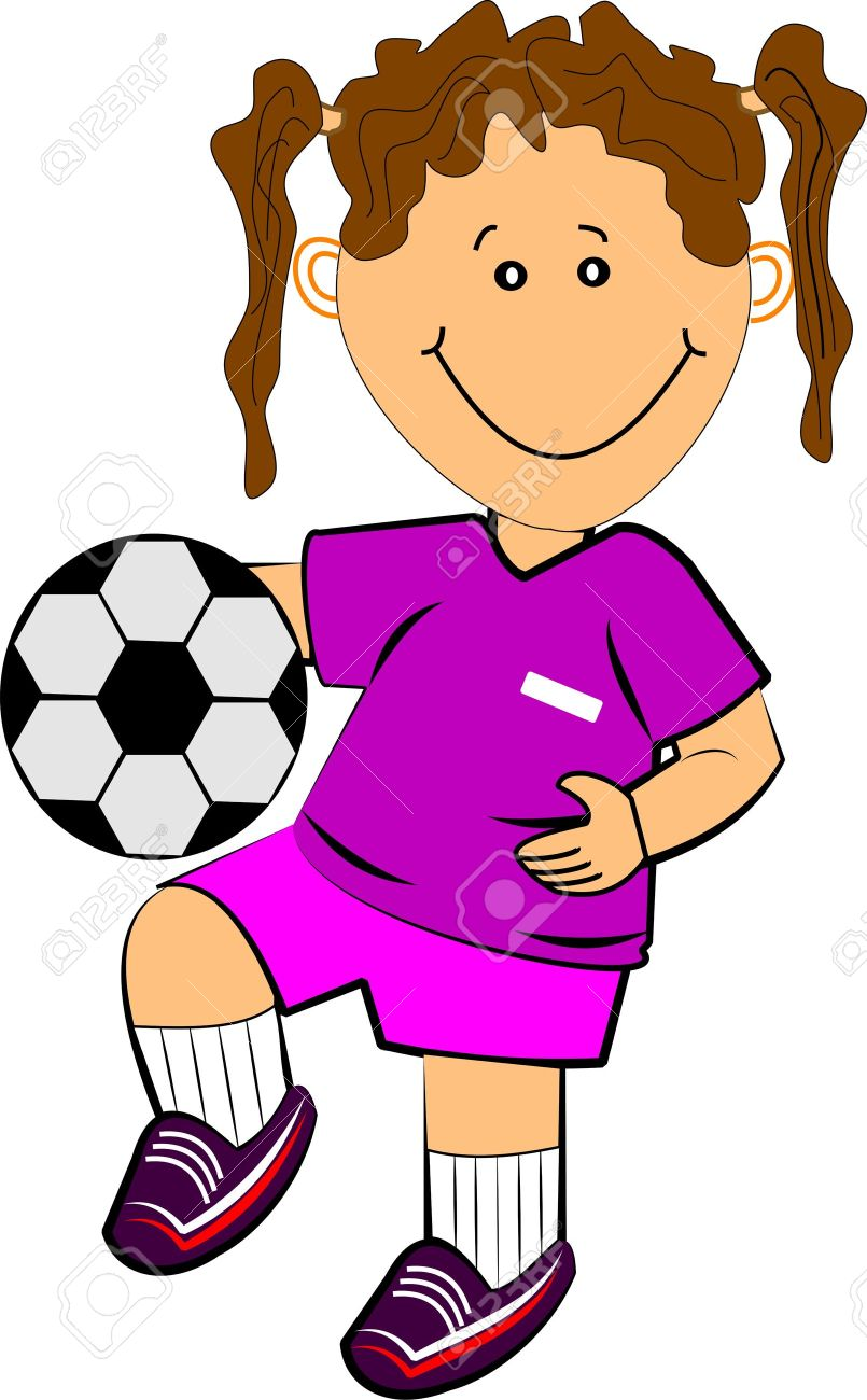 Little Girls Playing Soccer Clipart
