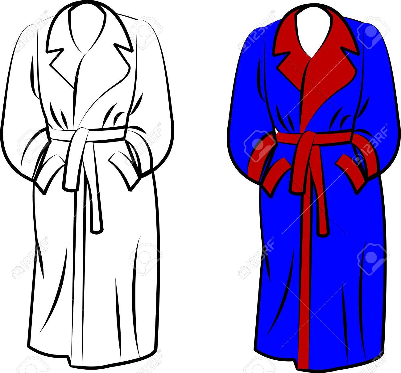 9cc9f9eb0d housecoat in two styles over white Stock Vector - 12489534