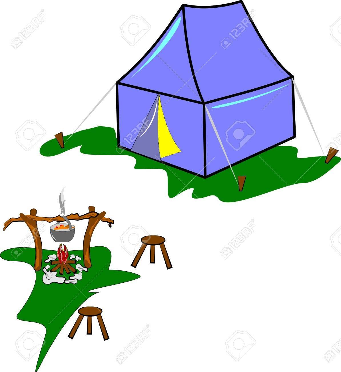 campsite in meadow Stock Vector - 12783867