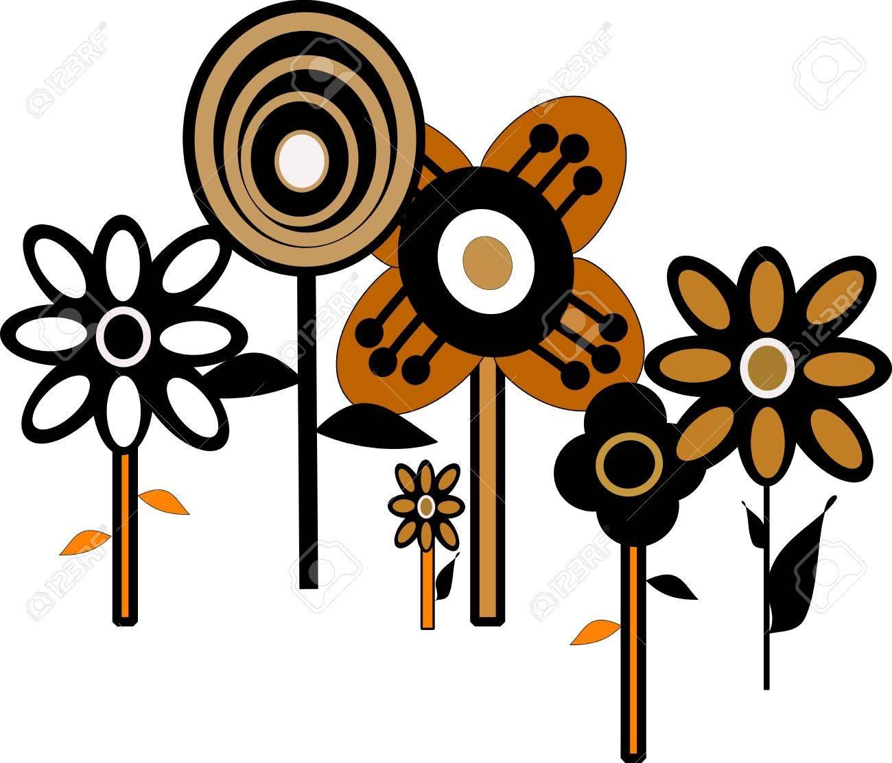 sixties flower pattern wallpaper Stock Vector - 12783967