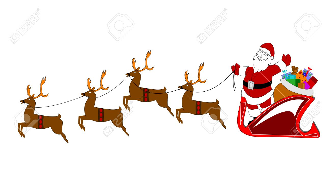 santa with reindeer over white stock vector 13050863 - Reindeer With Santa