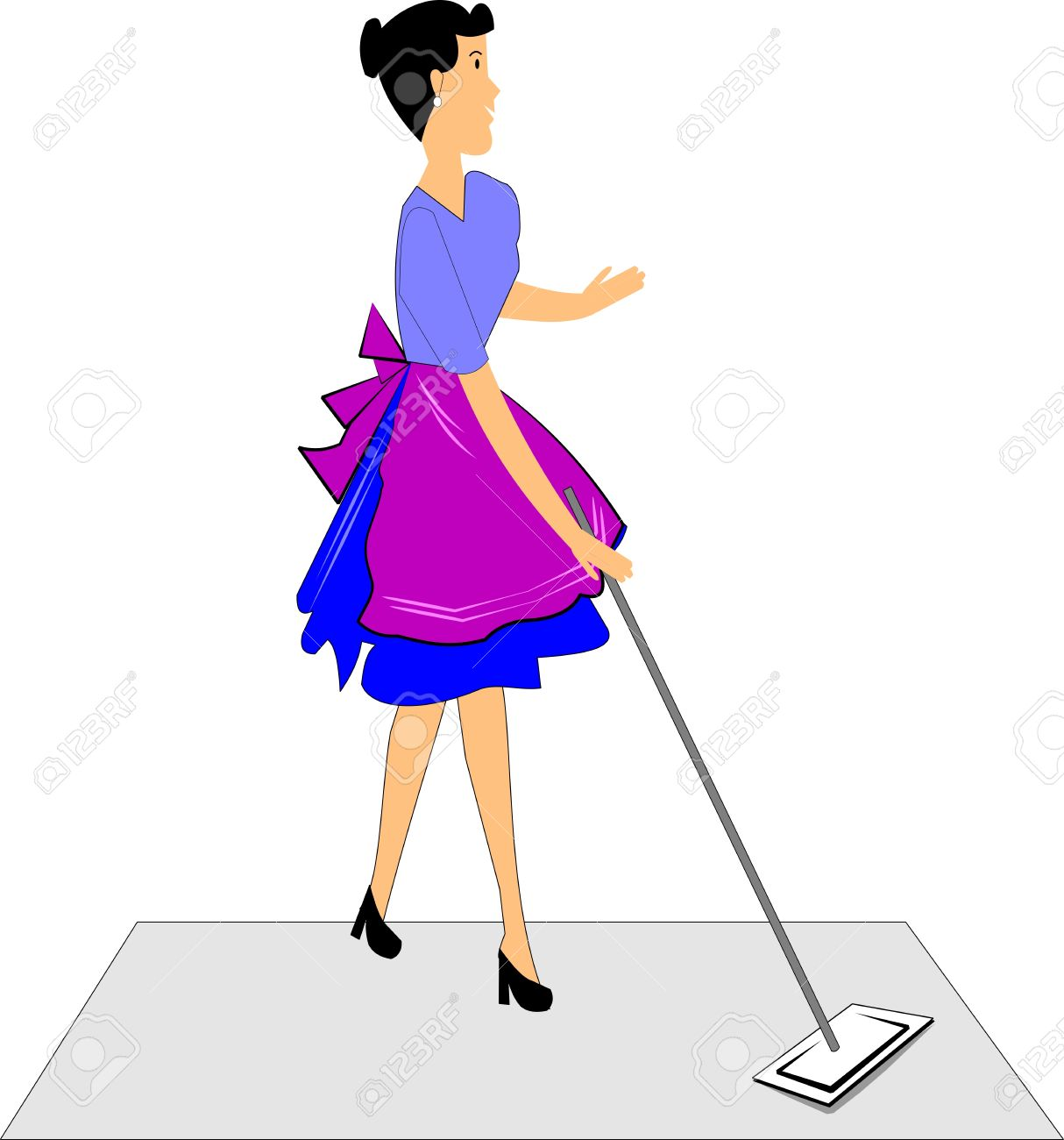 woman mopping the floor in retro style Stock Vector - 13144269