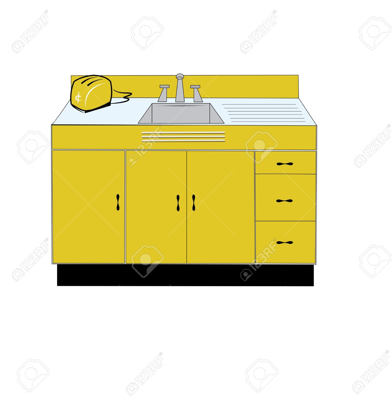Cartoon kitchen with cabinets and window vector art illustration - Kitchen Counter Retro Kitchen Sink And Toaster