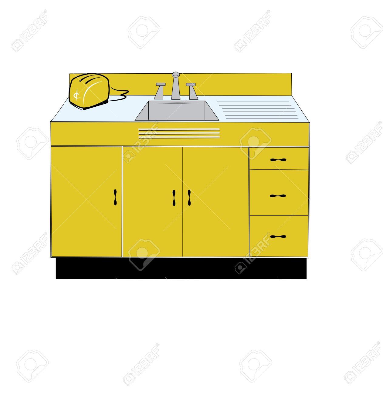 vector retro kitchen sink and toaster - Retro Kitchen Sink