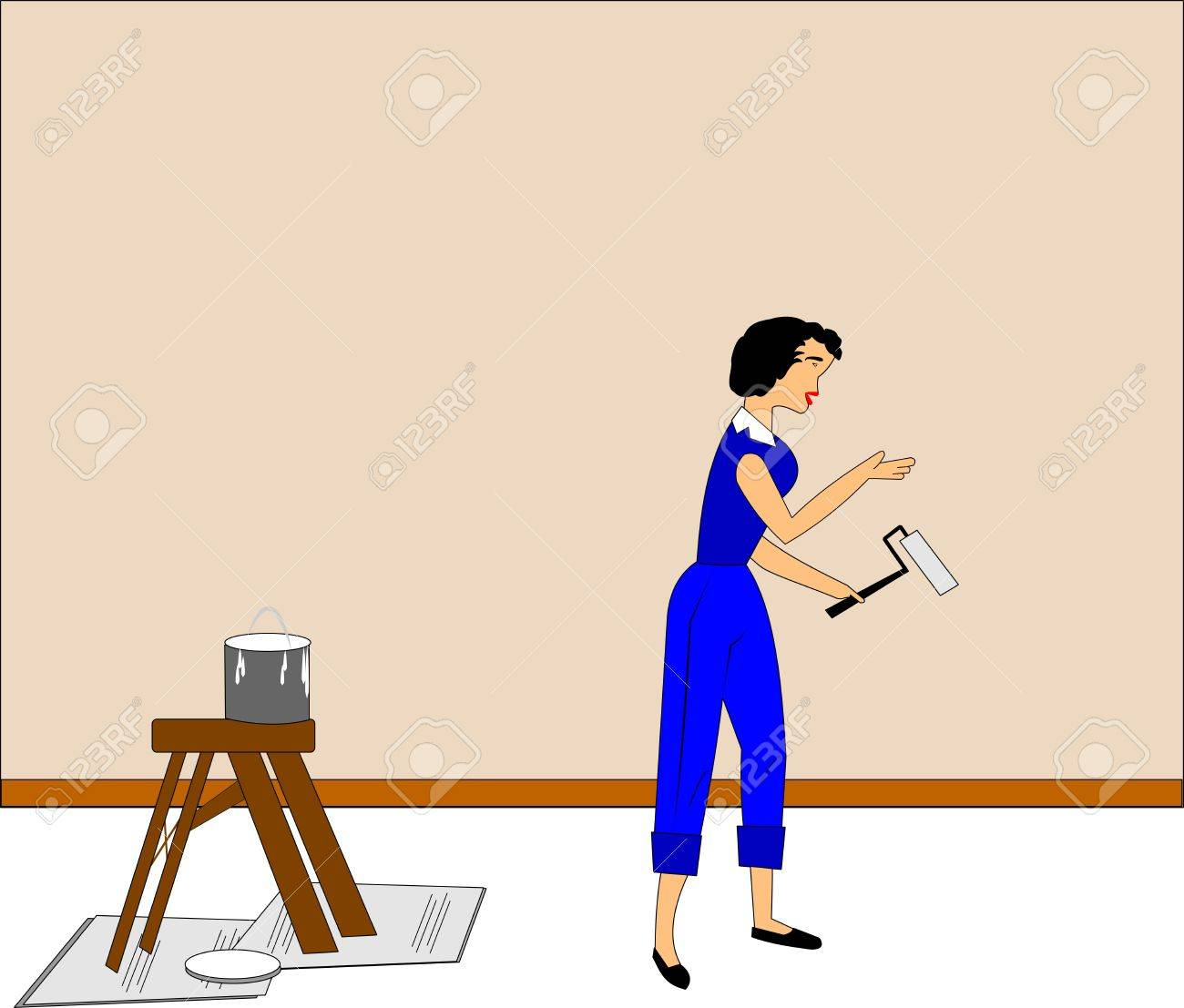Superior Lady Painting A Wall In Room Stock Vector   14620078