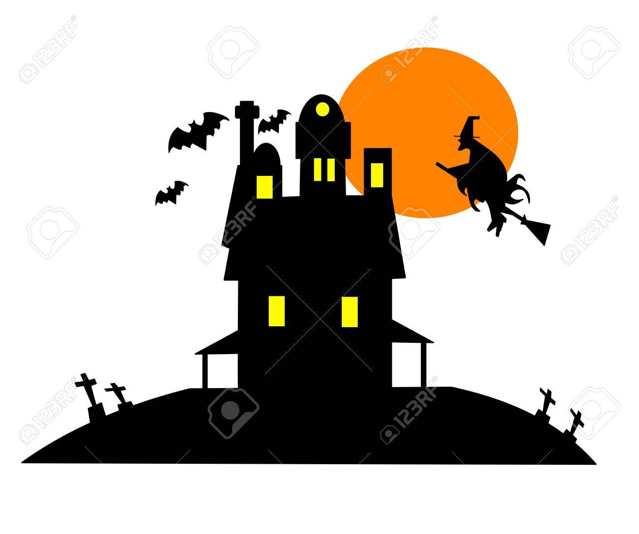 Haunted House Clip Art Over White Royalty Free Cliparts, Vectors ...