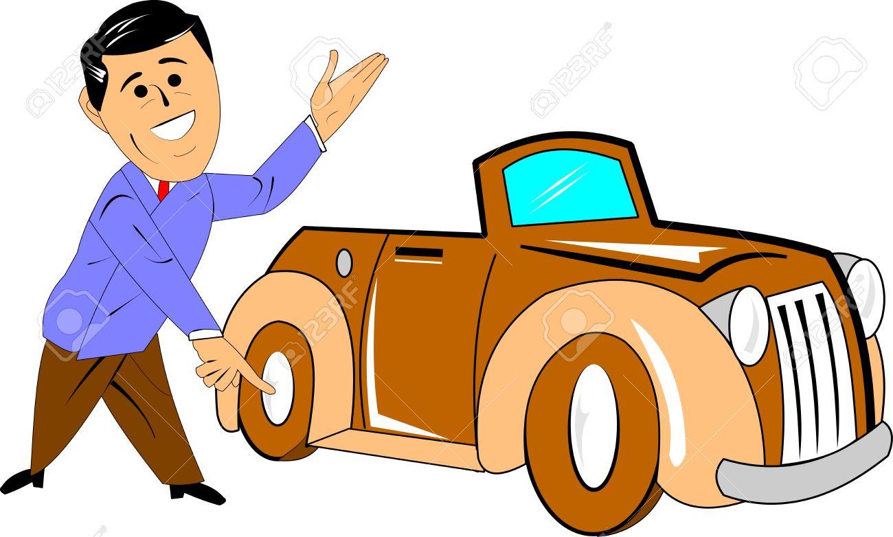 car salesman with brand new car cartoon over white Stock Vector - 15487922