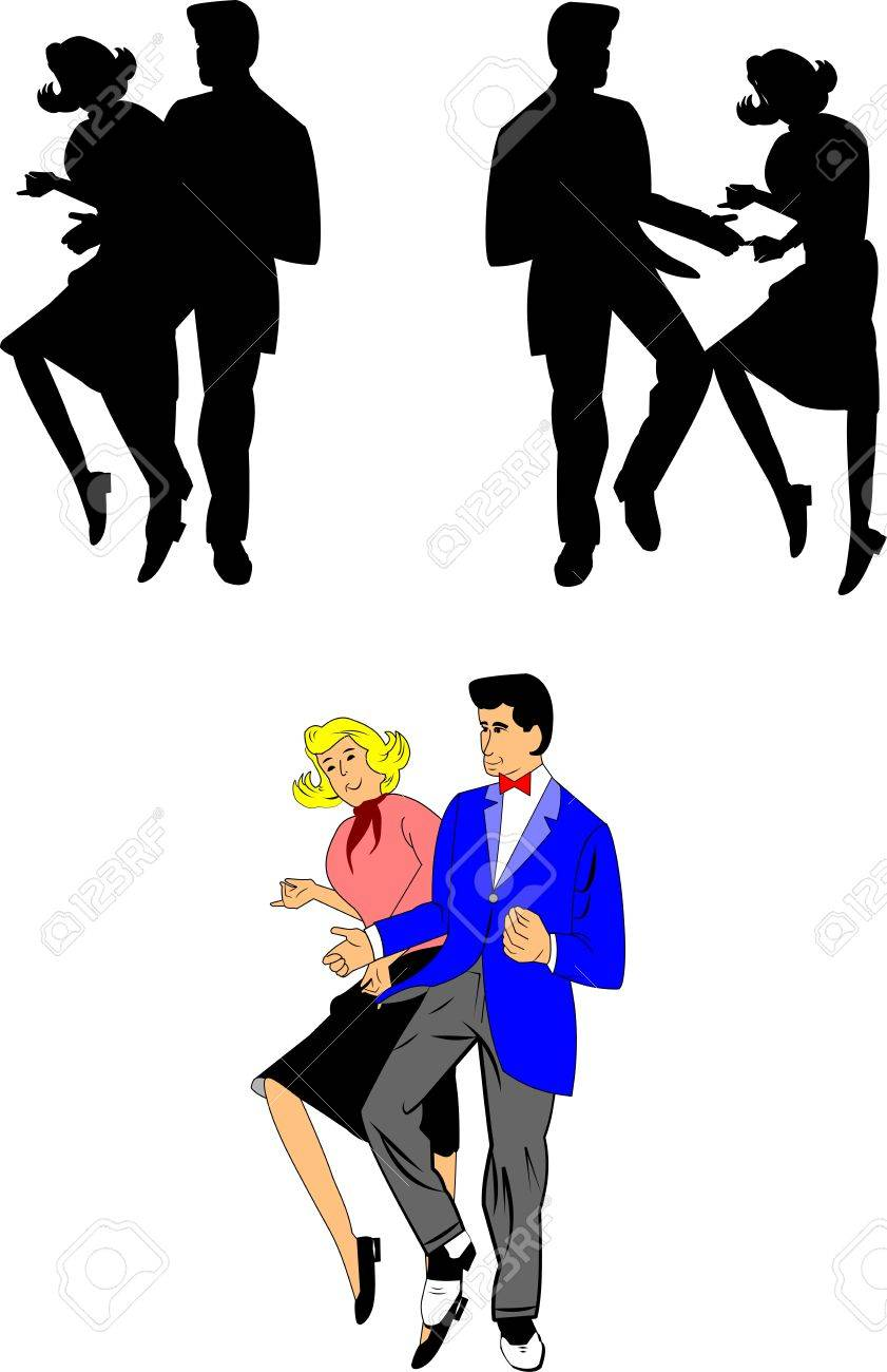 50s dance on a record. Cartoon couple in vintage clothing dancing  rock-and-roll on a vinyl record, eps 8 vector illustration.