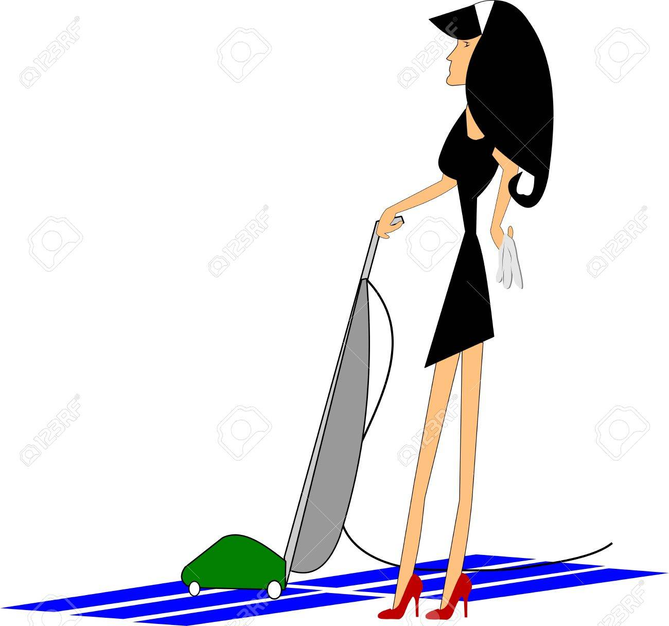 cleaning lady with vacuum Stock Vector - 15141548