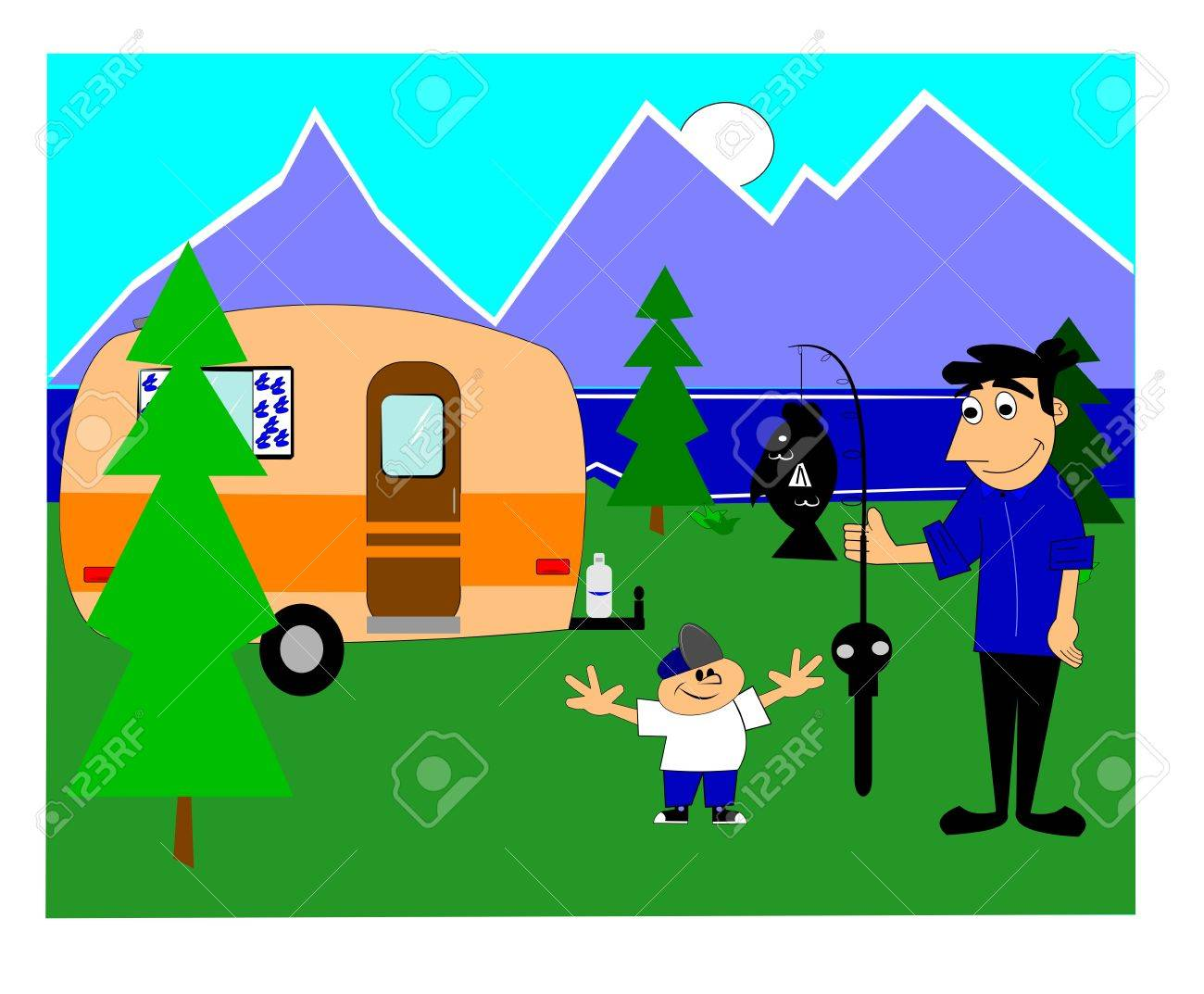 camping trip with dad Stock Vector - 15633642