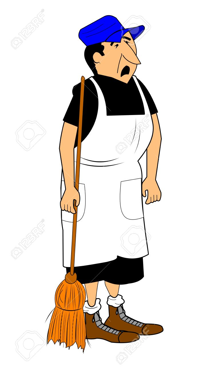 hen pecked husband holding broom and whining Stock Vector - 15760370