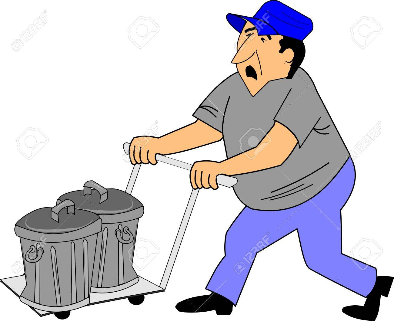 unhappy man taking garbage to curb on dolly Stock Vector - 15760369