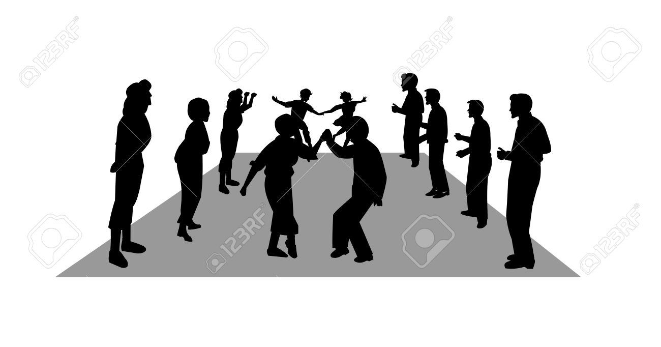 stroll dancers in silhouette Stock Vector - 16146400