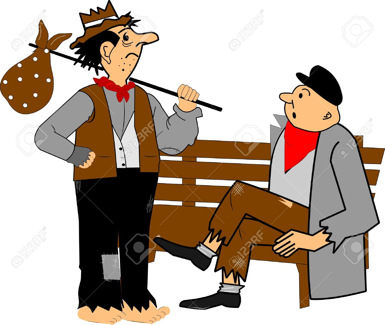 homeless men chatting on bench Stock Vector - 16272257