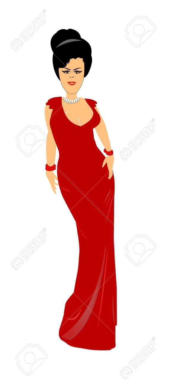 Woman In Low Cut Evening Gown Royalty Free Cliparts, Vectors, And ...
