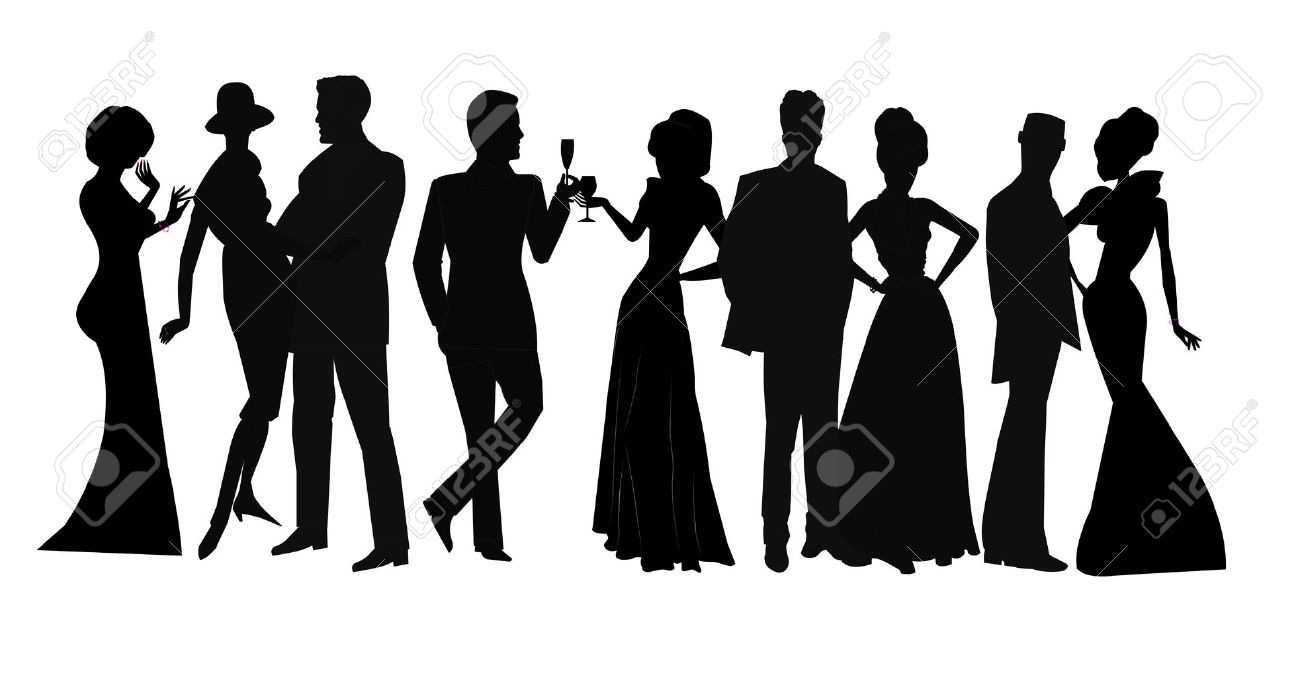 social gathering in silhouette Stock Vector - 22552159