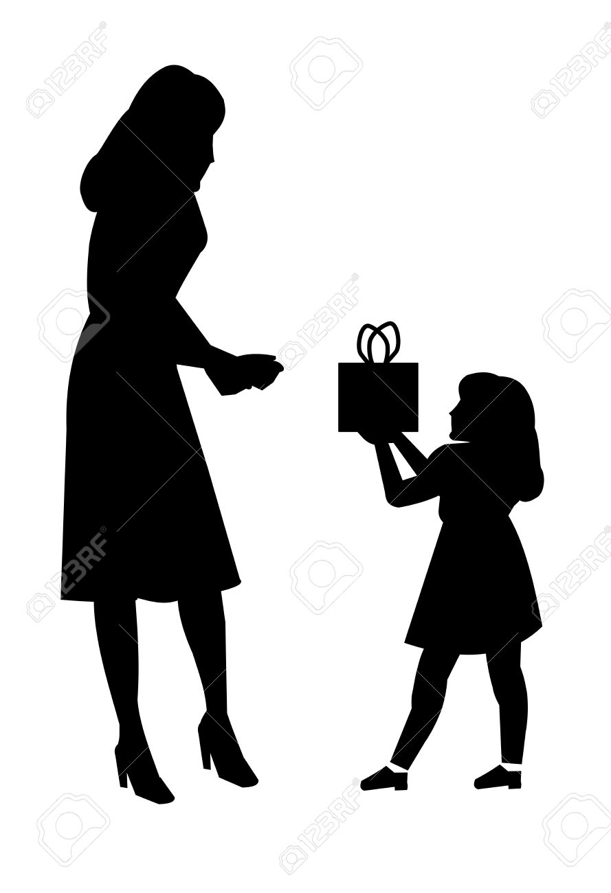 Daughter giving mother gift in silhouette royalty free cliparts daughter giving mother gift in silhouette stock vector 22681235 negle Choice Image