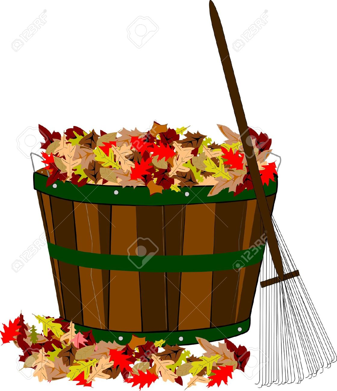 pile of leaves in wooden basket with rake stock photo picture and